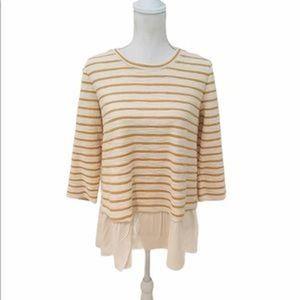 LOGO striped terry cloth boucle sweatshirt cream